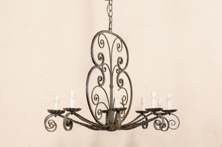 Mid-20th Century French Ten-Light Iron Chandelier In Good Condition For Sale In Atlanta, GA