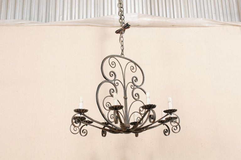 Mid-20th Century French Ten-Light Iron Chandelier For Sale 1