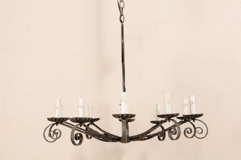 Mid-20th Century French Ten-Light Iron Chandelier For Sale 2