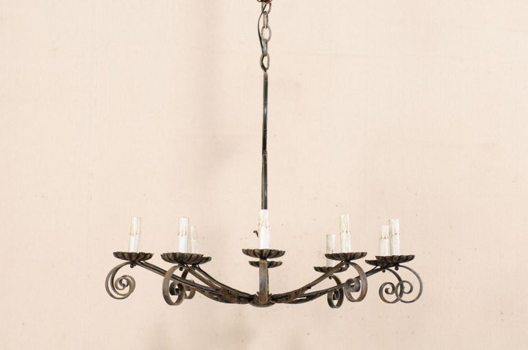 Mid-20th Century French Ten-Light Iron Chandelier For Sale 3