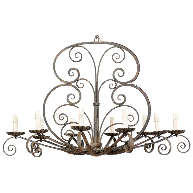 Mid-20th Century French Ten-Light Iron Chandelier For Sale