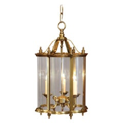 Mid-20th Century French Three-Light Bronze Lantern with Curved Glass Panels