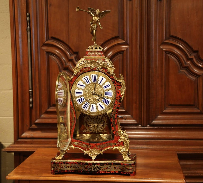 Louis XV Mid-20th Century French Tortoiseshell and Bronze Boulle Mantel Clock on Base For Sale