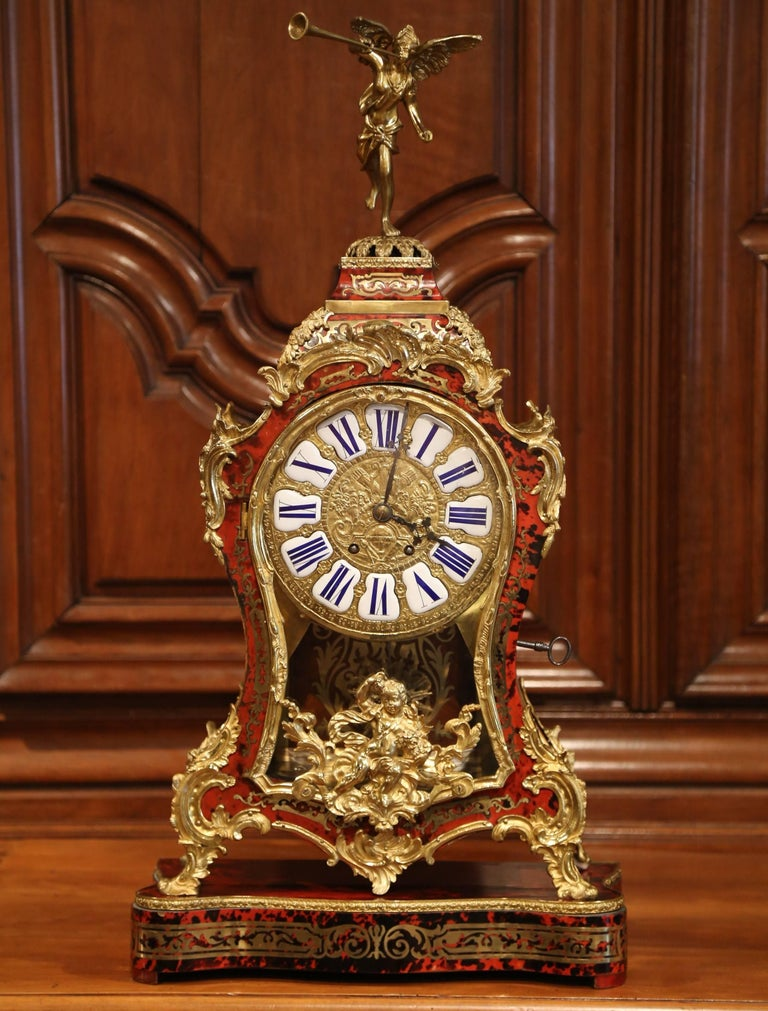Mid-20th Century French Tortoiseshell and Bronze Boulle Mantel Clock on Base In Excellent Condition For Sale In Dallas, TX