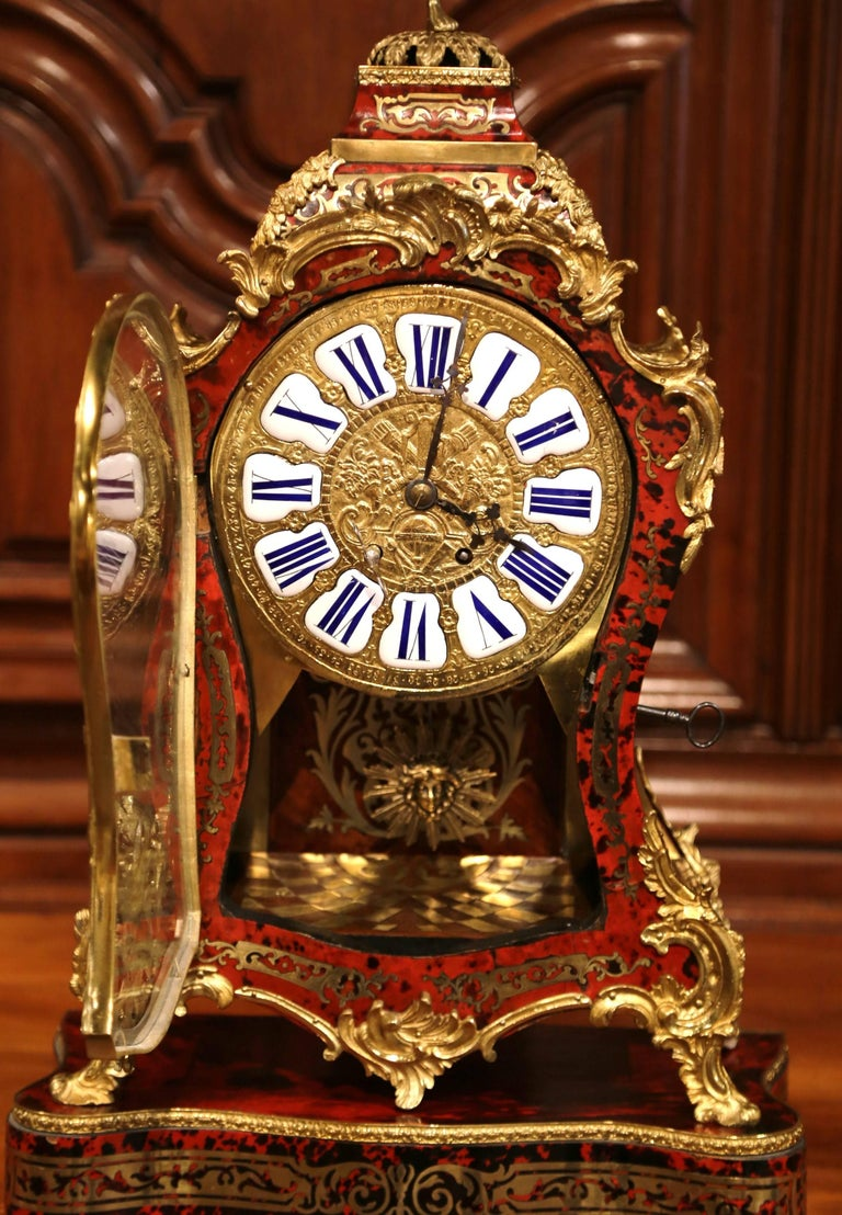 Brass Mid-20th Century French Tortoiseshell and Bronze Boulle Mantel Clock on Base For Sale