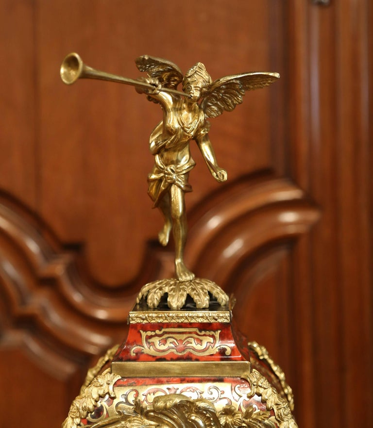Mid-20th Century French Tortoiseshell and Bronze Boulle Mantel Clock on Base For Sale 1