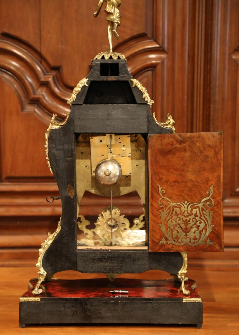 Mid-20th Century French Tortoiseshell and Bronze Boulle Mantel Clock on Base For Sale 3