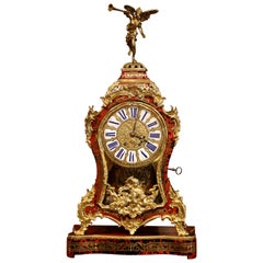 Mid-20th Century French Tortoiseshell and Bronze Boulle Mantel Clock on Base