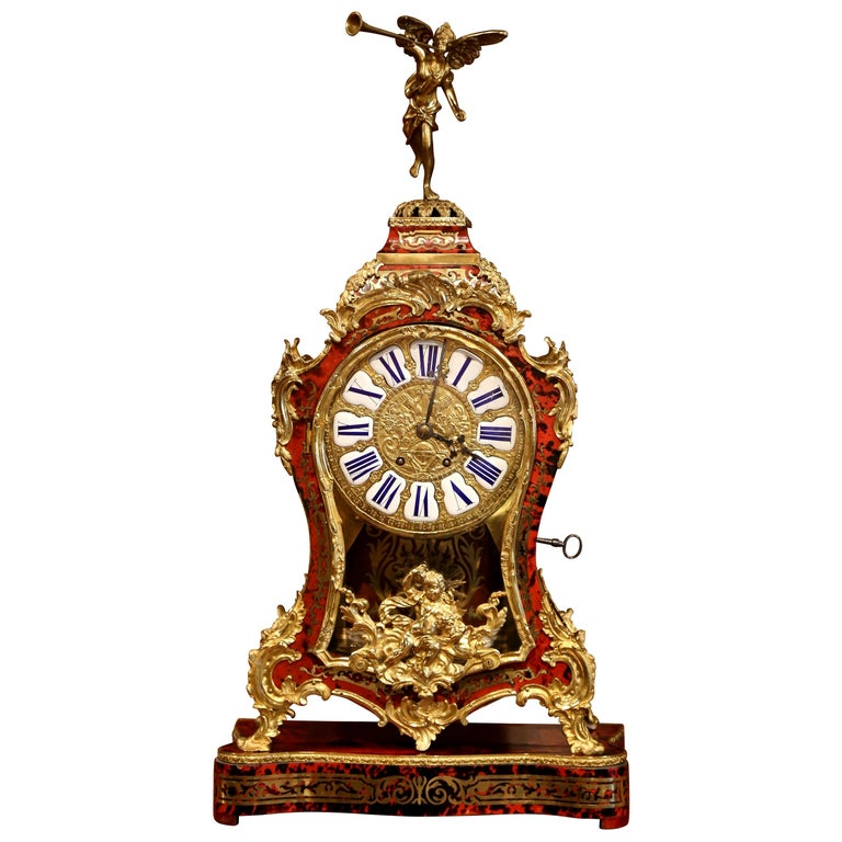 Mid-20th Century French Tortoiseshell and Bronze Boulle Mantel Clock on Base For Sale