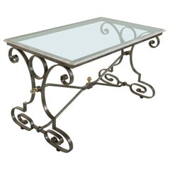 Mid 20th Century French Wrought Iron and Bronze Outdoor Dining Table, Glass Top