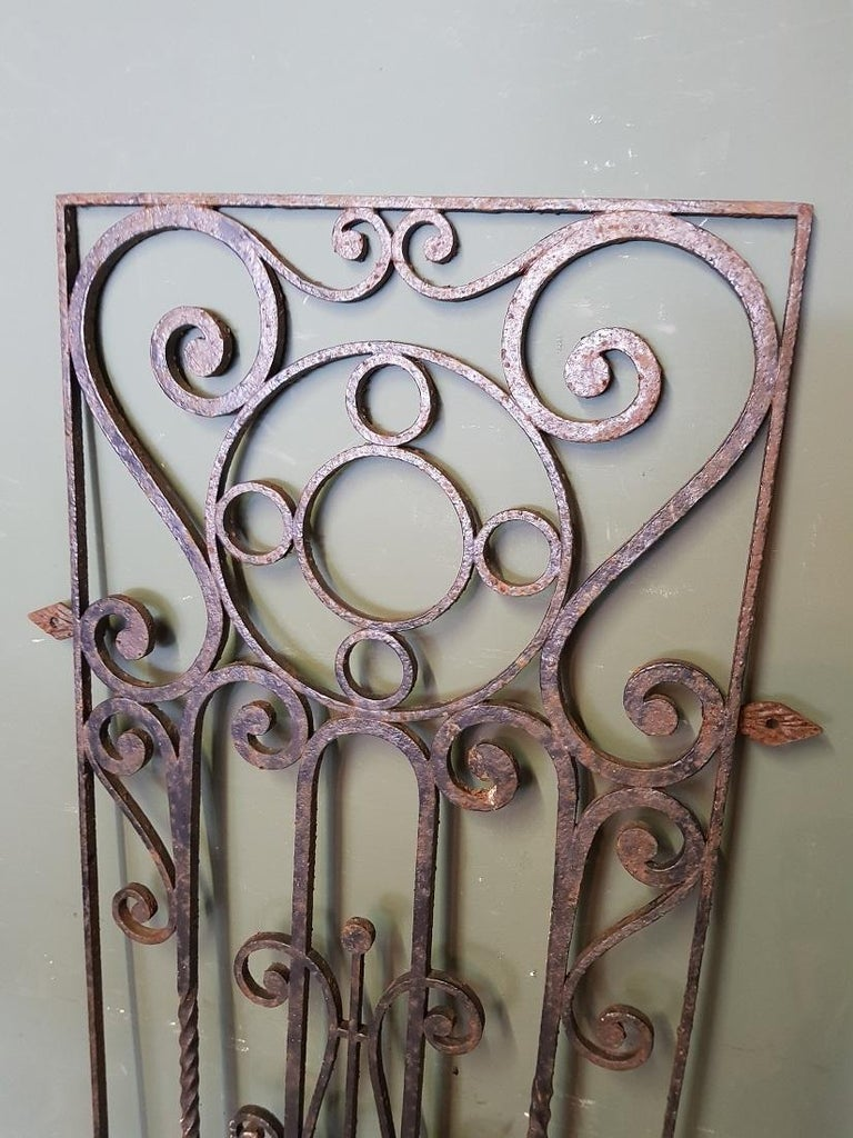 Old French wrought iron door grille decorated with various curls and twisted elements, these are further in a good but used condition. Originating from the mid-20th century.  The measurements are, Depth 2 cm/ 0.7 inch. Width 56 cm/ 22