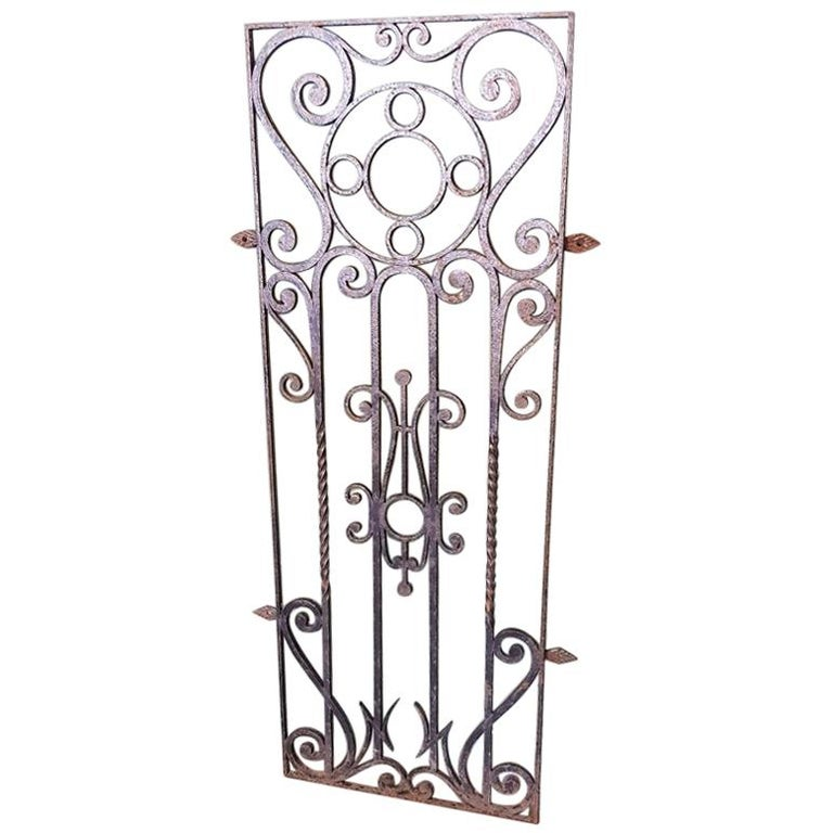 Mid-20th Century French Wrought Iron Door Grill For Sale