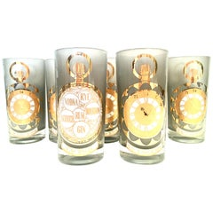 Mid-20th Century Frosted 22-Karat Gold Printed High Ball Glasses, S/7