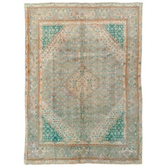 Mid-20th Century Geometric Persian Rug in Green and Turquoise