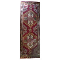 Mid-20th Century Geometric Wool Caucasian Rug in Red Rubin and Pink Colors