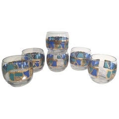 Mid-20th Century Georges Briard Roly Poly Cocktail Glasses in the Europa Pattern