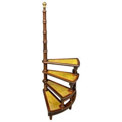 Mid-20th Century German Carved Wood and Leather Spiral Step Library Ladder