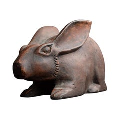 Mid-20th Century German Carved Wooden Life-Size Rabbit Figure