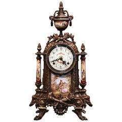 Mid-20th Century German Louis XVI Gilt Bronze and Porcelain Mantel Clock