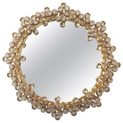 Mid-20th Century Gilt Brass and Crystal Wall Mirror Attributed to Palwa