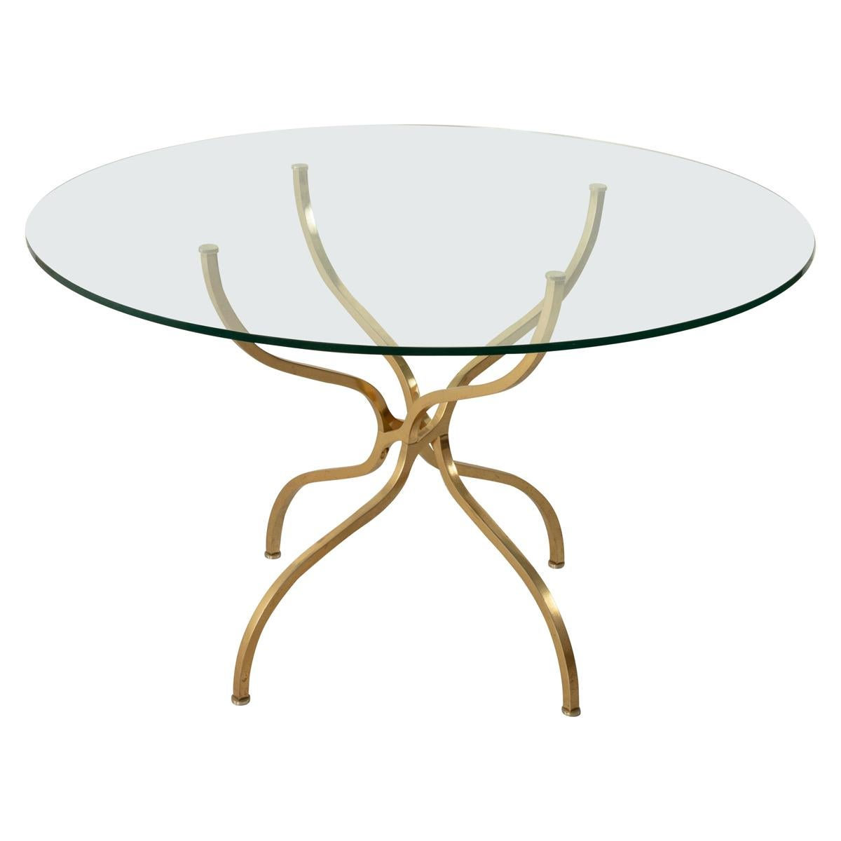 Mid-20th Century Gilt Brass and Glass Entry or Dining Table by Georges Geffroy