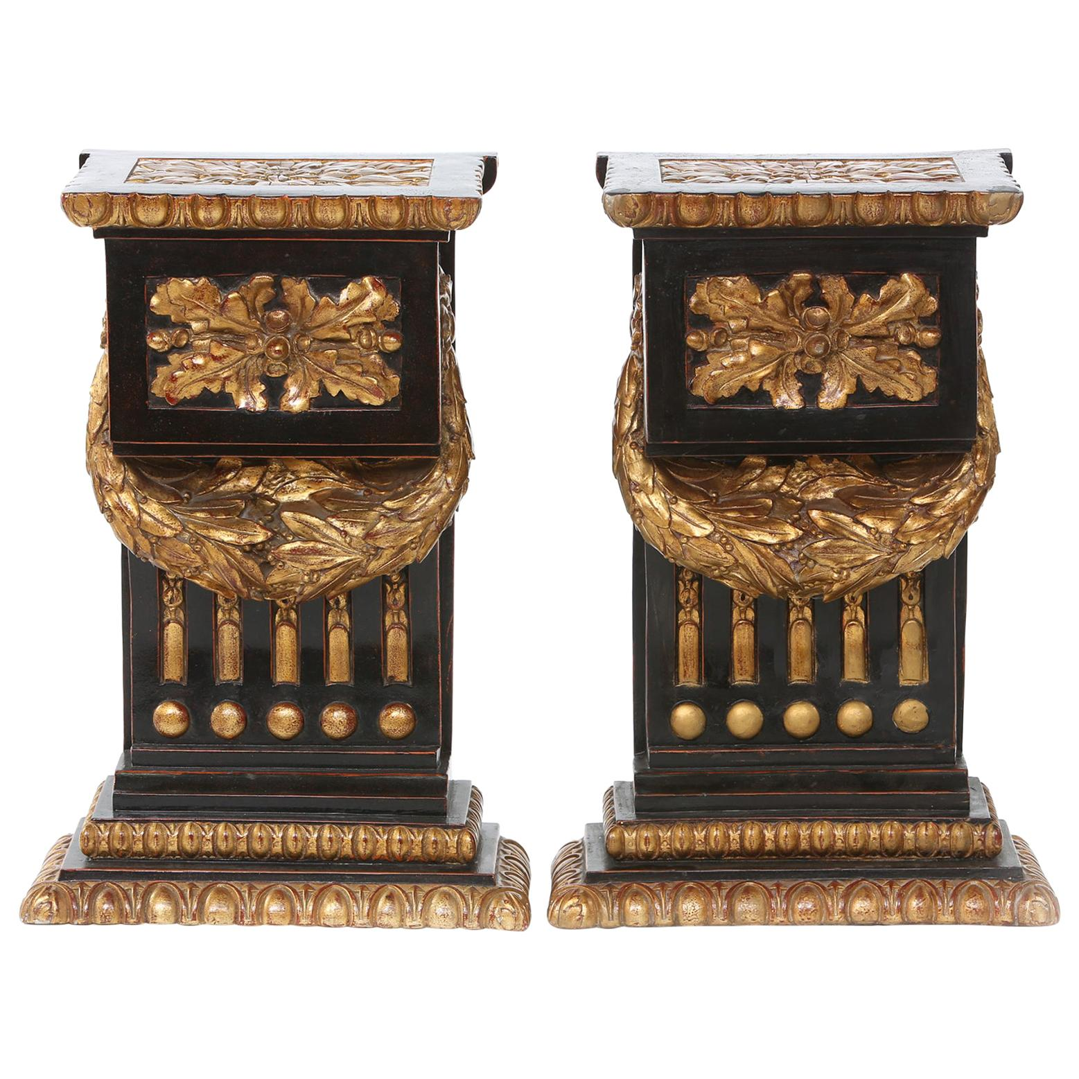 Mid-20th Century Gilt Bronze Pedestal / Side Tables