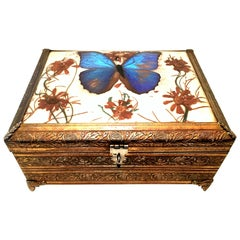 Mid-20th Century Gilt Filigree Ormolu Butterfly Musical Casket Jewelry Box