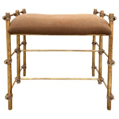 Mid-20th Century Gilt Metal Faux Bamboo Bench or Stool