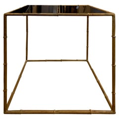 Mid-20th Century Gilt Metal Faux Bamboo Square Table, Black Glass Top