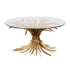 Mid-20th Century Gilt Metal Sheaf of Wheat Coffee Table with Round Glass Top