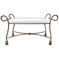 Mid-20th Century Gilt Metal Tassel Leg Bench