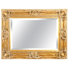 Mid-20th Century Gilt Wood Frame Bevelled Hanging Mirror