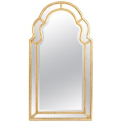 Mid-20th Century Giltwood Frame Beveled Hanging Wall Mirror
