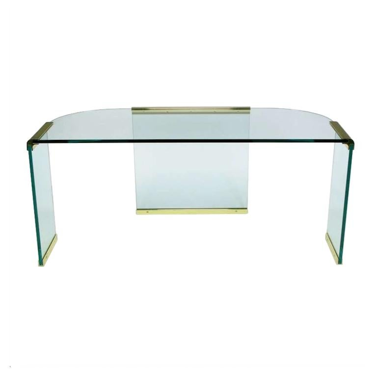 Mid-Century Modern Mid-20th Century Glass and Brass Table by Design Institute America For Sale