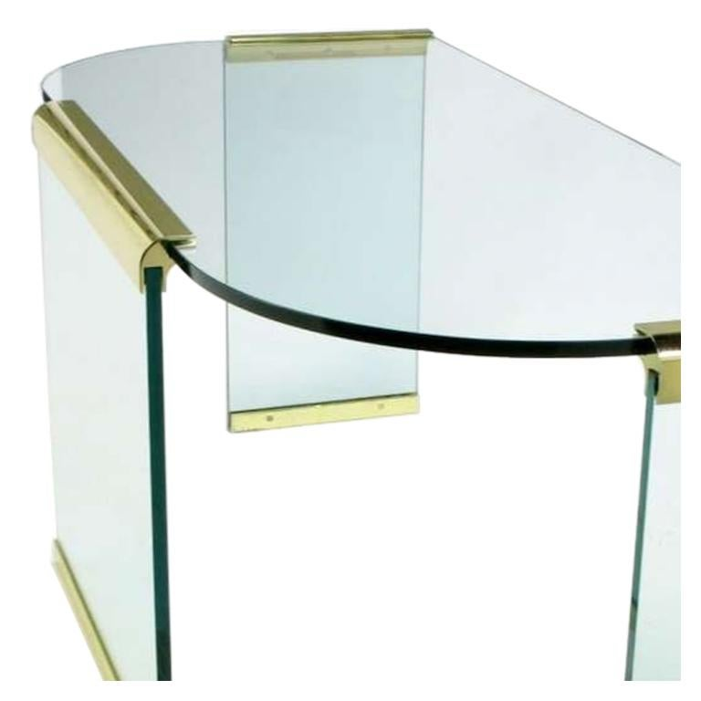 American Mid-20th Century Glass and Brass Table by Design Institute America For Sale