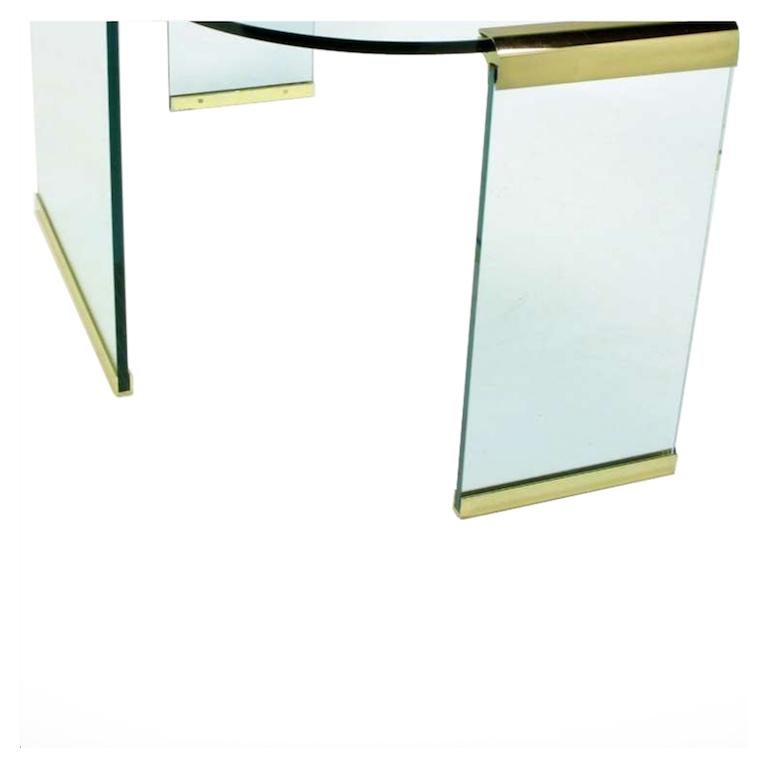 Late 20th Century Mid-20th Century Glass and Brass Table by Design Institute America For Sale