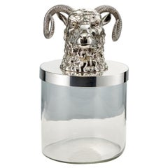 Mid-20th Century Glass Ice Bucket with Mounted Rams Head Austria, circa 1960