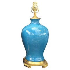 Mid-20th Century Glazed Blue Porcelain Lamp, Brass Base