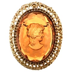 Mid-20th Century Gold & Amber Carved Glass Cameo Brooch & Necklace Pendant