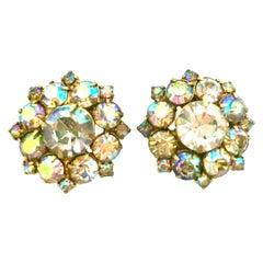 Mid-20th Century Gold & Aurora Borealis Austrian Crystal Pair Of Earrings
