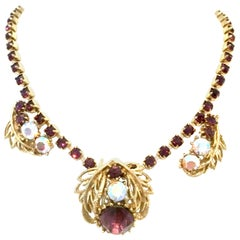 Mid-20th Century Gold & Austrian Crystal Choker Style Necklace