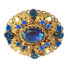 Mid-20th Century Gold & Austrian Crystal Dimensional Brooch-West Germany