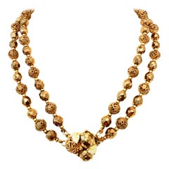 Mid-20th Century Gold Bead Double Strand Choker Necklace