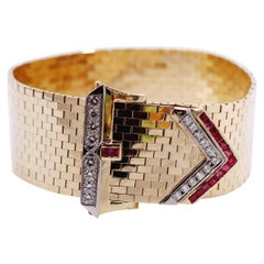 Mid-20th Century Gold Buckle Bracelet with Diamonds and Rubies