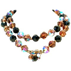 Mid-20th Century Gold & Crystal Bead Necklace