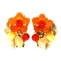 Mid-20th Century Gold & Floral Pair of Crystal, Molded Glass Earrings