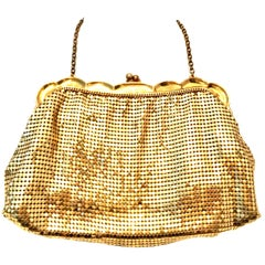 Mid-20th Century Gold Metal Mesh Evening Bag By, Whiting & Davis