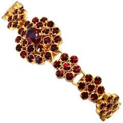 Mid-20th Century Gold & Natural Rose Cut Garnet Link Bracelet