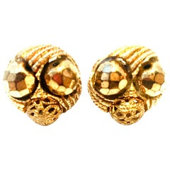 Mid-20th Century Gold Plate Beaded Earrings