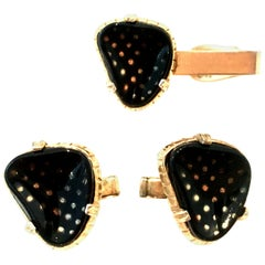 Mid-20th Century Gold Plate & Lucite Pair Of Cuff Links & Tie Clip S/3